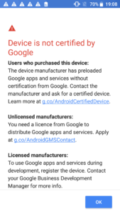 Device is not certified by Google